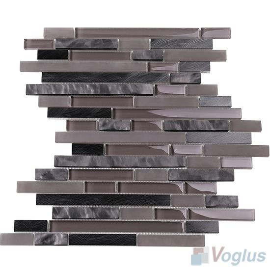Wenge Bullet Linear Glass Metal Mosaic Tiles VB-GML98
