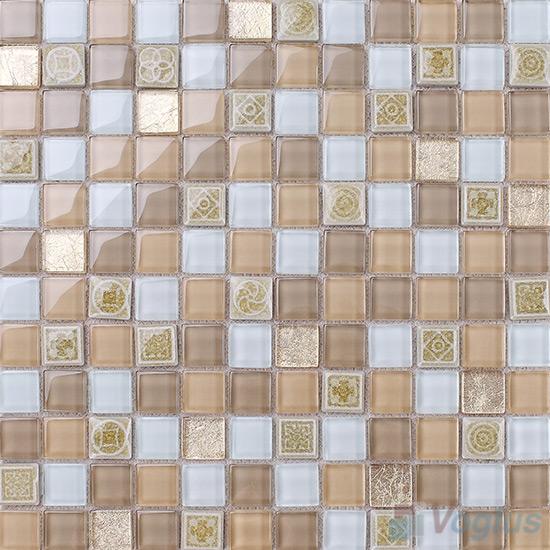 Wheat 1x1 Glass Ceramic Mosaic Tiles VB-GCB93