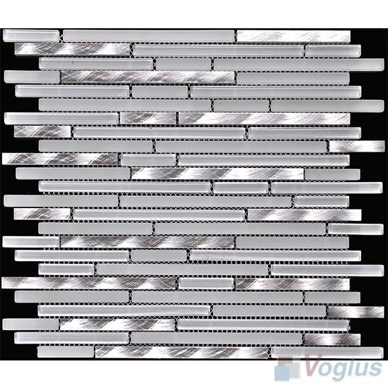 White Smoke Bullet Linear Glass Metal Mosaic Tiles VB-GML87