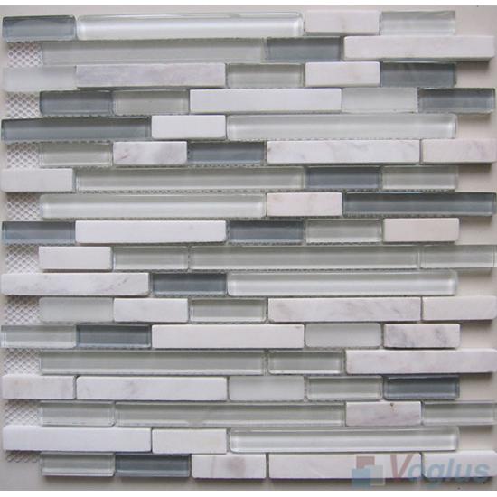 Anti-flash Linear Glass Stone Mosaic Tiles VB-GSL89