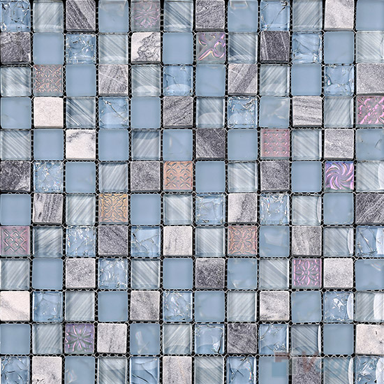 Baby Blue 1x1 Glass and Stone Mosaic Tiles VB-GSB94