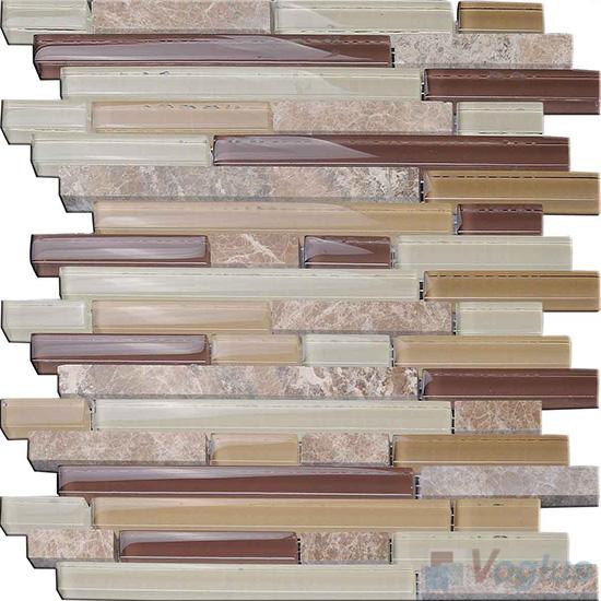 Beige Linear Glass Stone Mosaic Tiles VB-GSL96