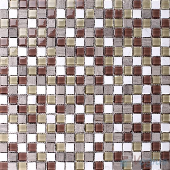 Brown-White 15x15mm Glass Mix Stone Mosaic VB-GSA95