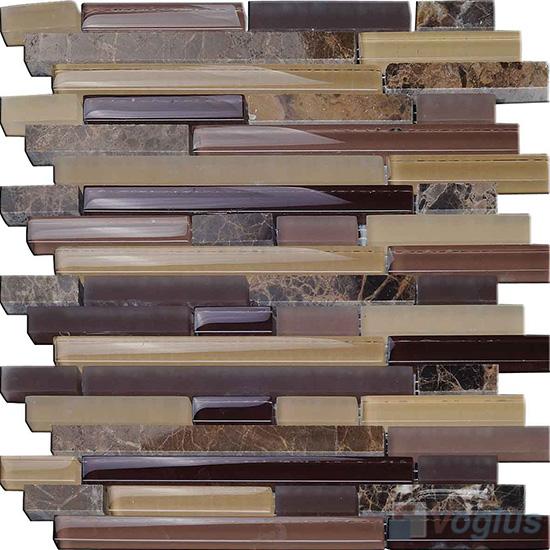 Browny Linear Glass Stone Mosaic Tiles VB-GSL95