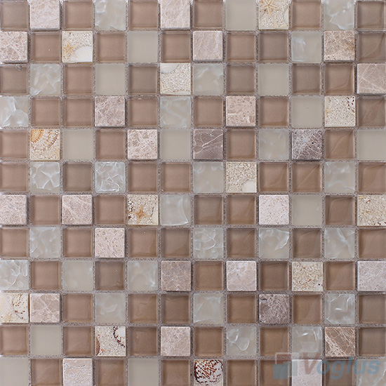 Cemel 1x1 Glass and Stone Mosaic Tiles VB-GSB97