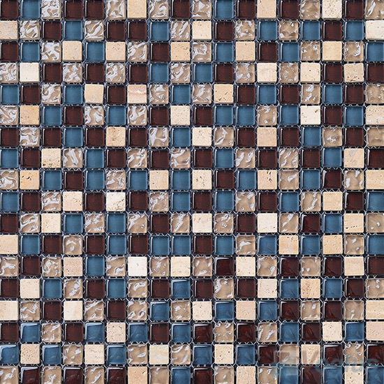Cerulean 15x15mm Glass Mix Stone Mosaic VB-GSA90