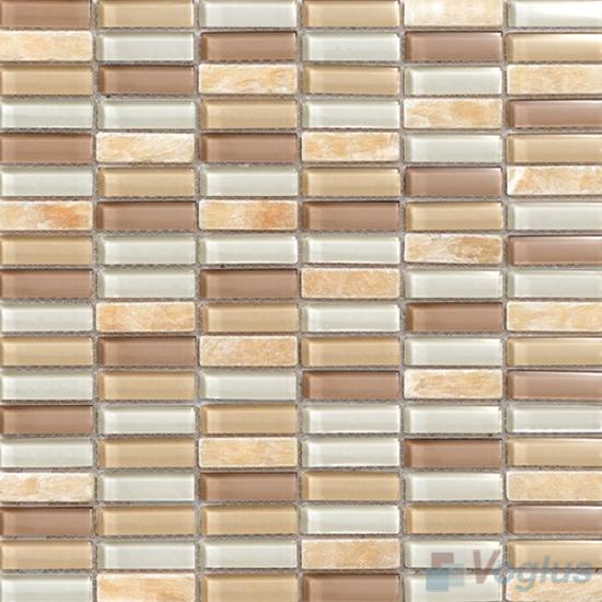Champagne 15x48mm Glass Stone Mosaic Tiles VB-GSC93