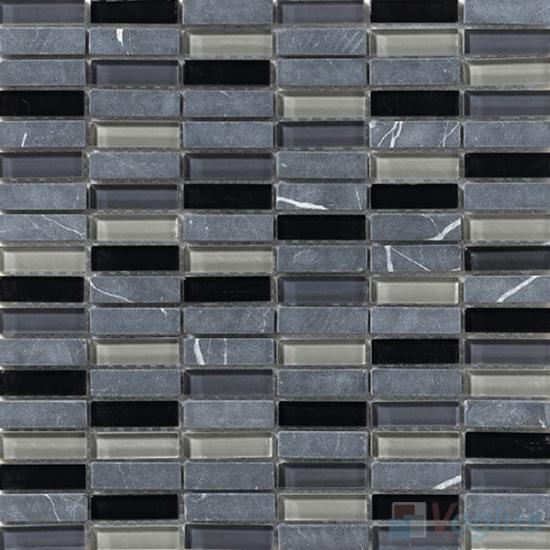 Charcoal 15x48mm Glass Stone Mosaic Tiles VB-GSC97