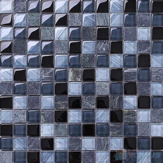 Charcoal 1x1 Glass and Stone Mosaic Tiles VB-GSB96