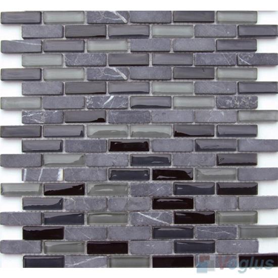Charcoal Subway 15x48mm Glass Stone Mosaic Tiles VB-GSC89