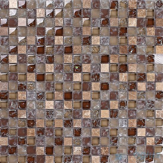 Coffee 15x15mm Glass Mix Stone Mosaic VB-GSA93