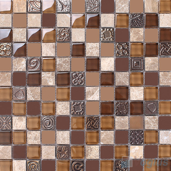 Coffee 1x1 Glass and Stone Mosaic Tiles VB-GSB88