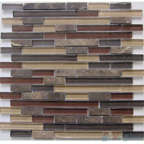 Coffee Linear Glass Stone Mosaic Tiles VB-GSL91