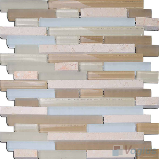 Creamy Linear Glass Stone Mosaic Tiles VB-GSL93