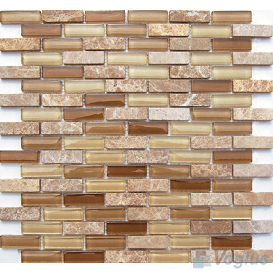 Desert Subway 15x48mm Glass Stone Mosaic Tiles VB-GSC87
