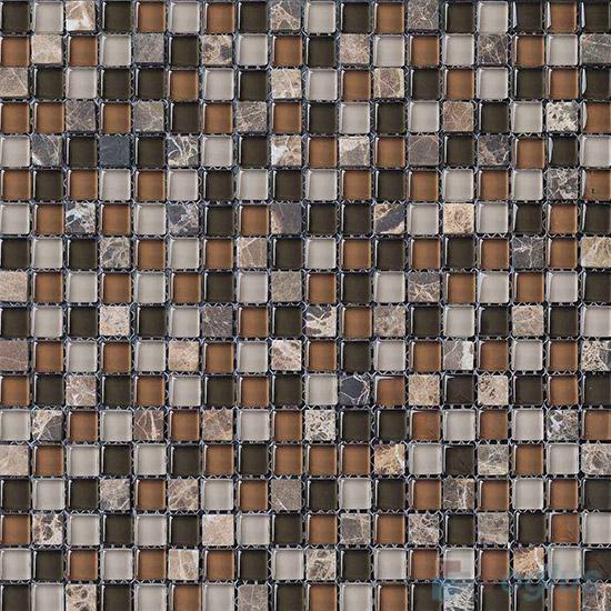Drab 15x15mm Glass Mix Stone Mosaic VB-GSA89