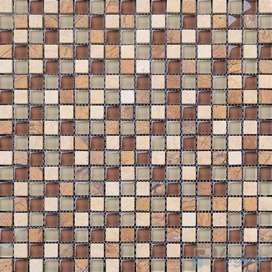 Earth 15x15mm Glass Mix Stone Mosaic VB-GSA87
