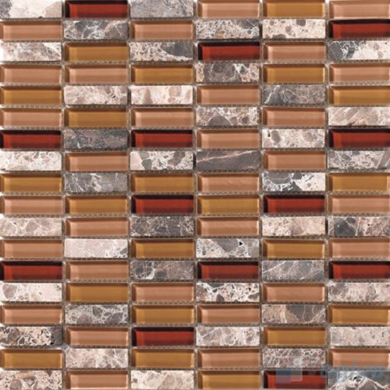 Fallow 15x48mm Glass Stone Mosaic Tiles VB-GSC94