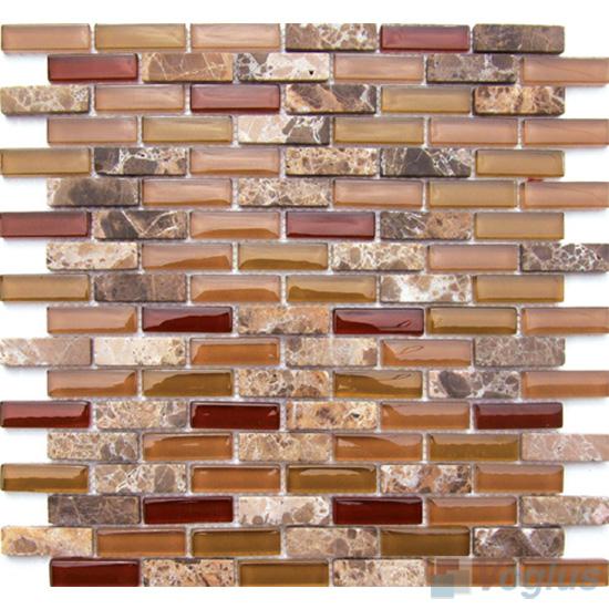 Fallow Subway 15x48mm Glass Stone Mosaic Tiles VB-GSC90