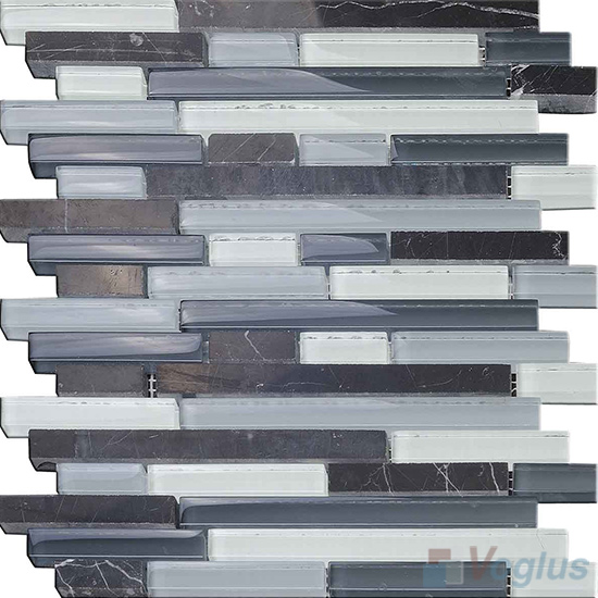 Gray Linear Glass Stone Mosaic Tiles VB-GSL97