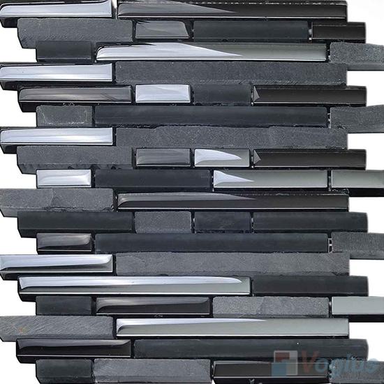 Gunmetal Linear Glass Stone Mosaic Tiles VB-GSL94