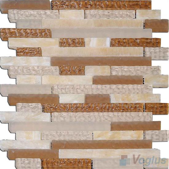 Honey Linear Glass Stone Mosaic Tiles VB-GSL98