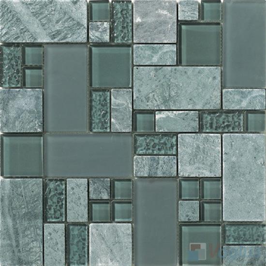 Jungle Green Magic Glass Stone Mix Mosaic Tile VB-GSM97