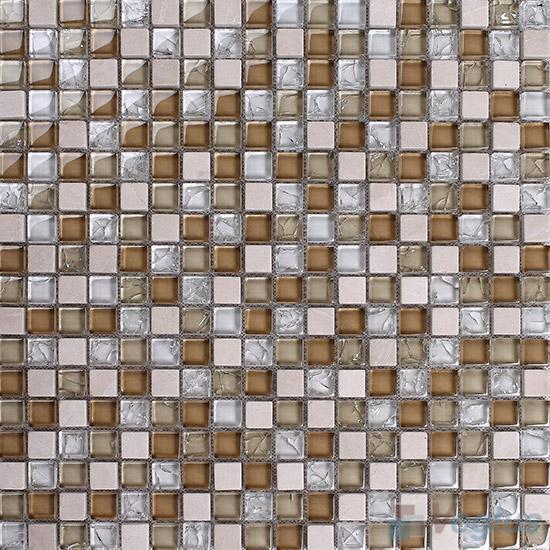 Lioner 15x15mm Glass Mix Stone Mosaic VB-GSA92