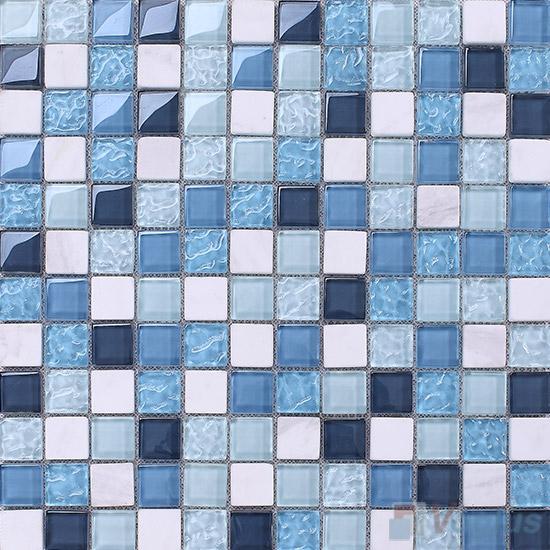 Maya Blue 1x1 Glass and Stone Mosaic Tiles VB-GSB98
