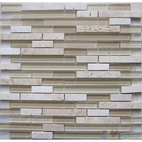 Pearl Linear Glass Stone Mosaic Tiles VB-GSL87