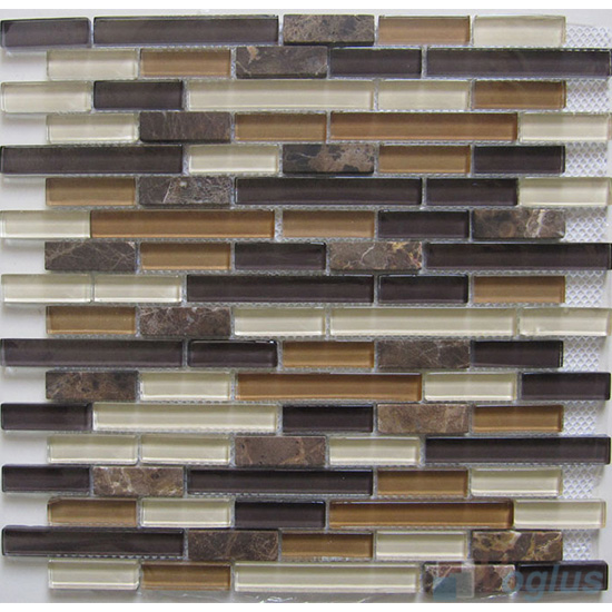 Raw Linear Glass Stone Mosaic Tiles VB-GSL90
