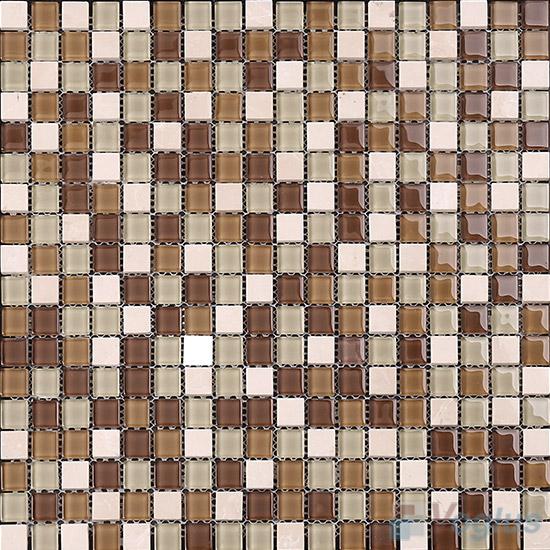 Russet 15x15mm Glass Mix Stone Mosaic VB-GSA97