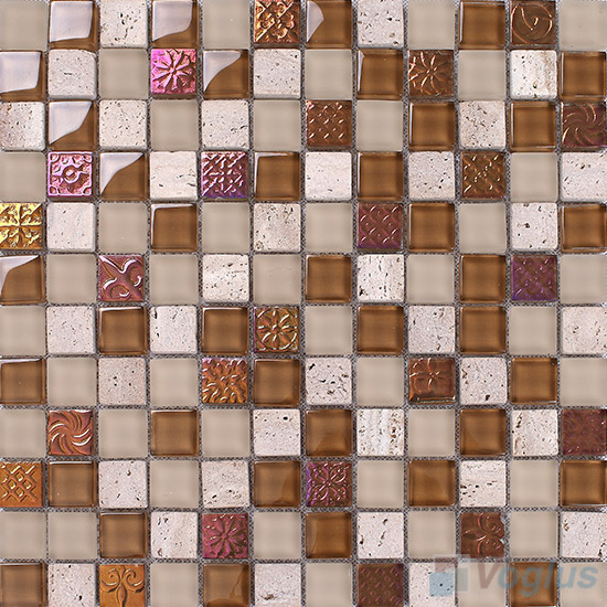 Russet 1x1 Glass and Stone Mosaic Tiles VB-GSB91