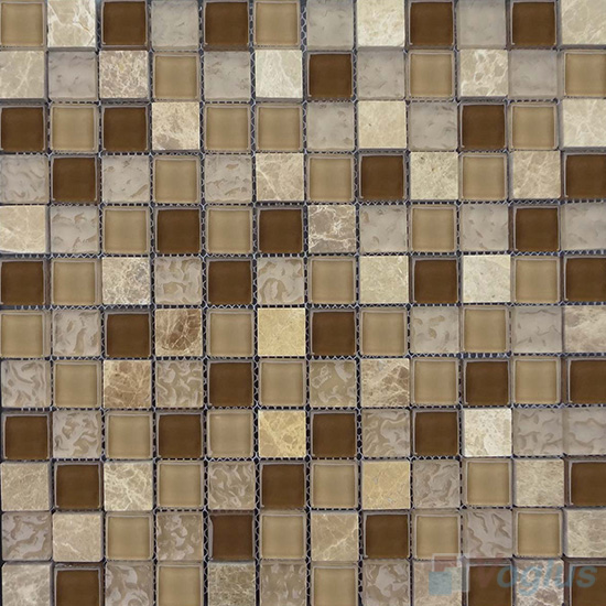 Russet 1x1 Glass and Stone Mosaic Tiles VB-GSB92