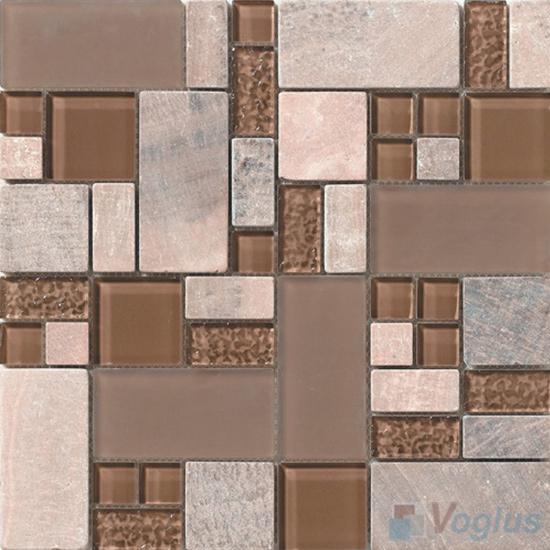 Russet Magic Glass Stone Mix Mosaic Tile VB-GSM96
