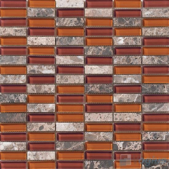 Rust 15x48mm Glass Stone Mosaic Tiles VB-GSC98