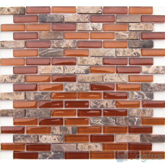 Rust Subway 15x48mm Glass Stone Mosaic Tiles VB-GSC91