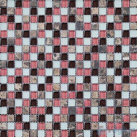Salmon 15x15mm Glass Mix Stone Mosaic VB-GSA91