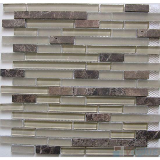 Sand Linear Glass Stone Mosaic Tiles VB-GSL86