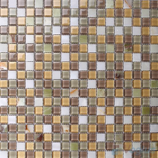Satin 15x15mm Glass Mix Stone Mosaic VB-GSA94