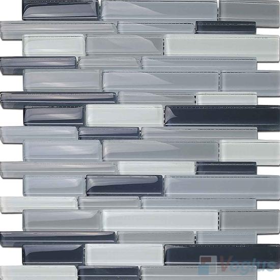 Slate Gray Linear Glass Stone Mosaic Tiles VB-GSL92