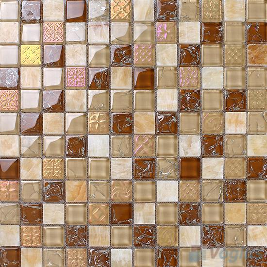 Tan 1x1 Glass and Stone Mosaic Tiles VB-GSB89
