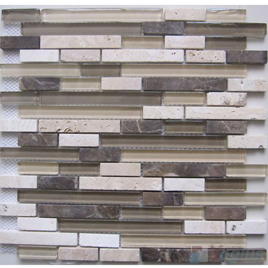Tan Linear Glass Stone Mosaic Tiles VB-GSL88