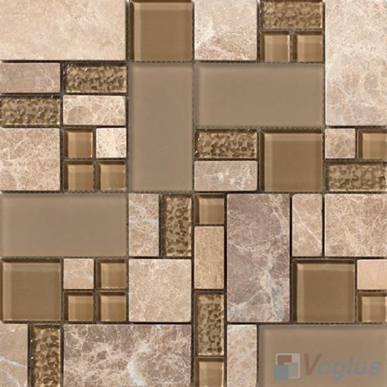 Tan Magic Glass Stone Mix Mosaic Tile VB-GSM98