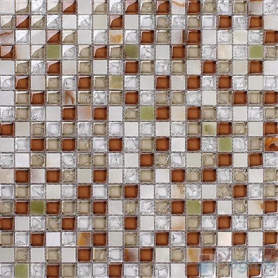 Tawny 15x15mm Glass Mix Stone Mosaic VB-GSA98