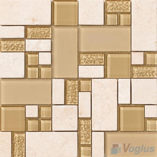 Wheat Magic Glass Stone Mix Mosaic Tile VB-GSM94