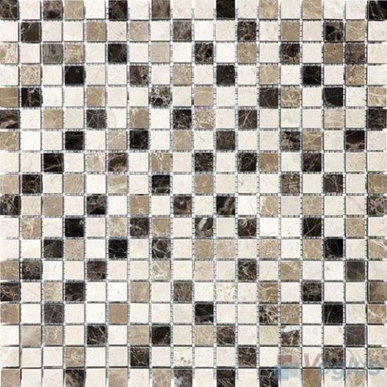 Beige Brown Polished 15x15mm Painbox Stone Mosaic VS-SAB94