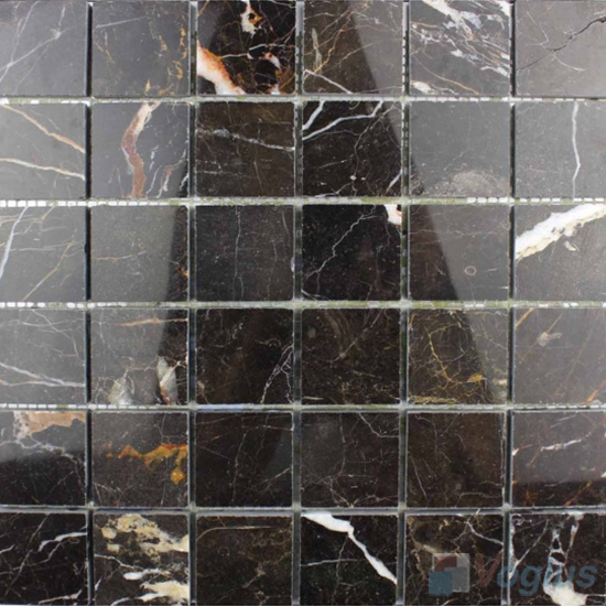 Black Marquina 48x48mm Tumbled Classic Marble Mosaic VS-SEA91