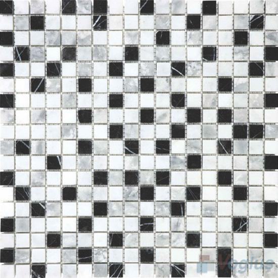Black White Polished 15x15mm Painbox Stone Mosaic VS-SAB95