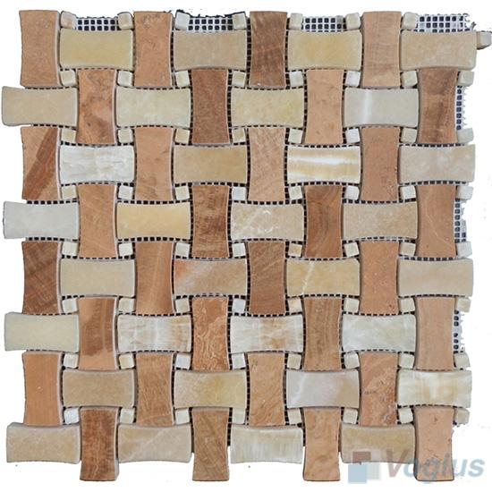 Rosso Polished Boned Basket Weave Marble Mosaic VS-PBW88